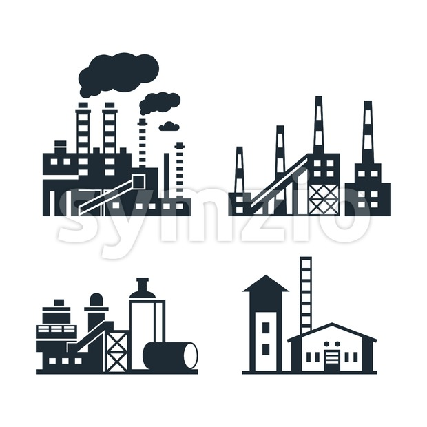 Digital vector black factory pollution icons with drawn simple line art info graphic, presentation with plant, smoke, environment and energy elements Stock Vector