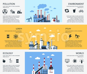 Digital vector yellow blue factory pollution icons with drawn simple line art info graphic, presentation with nuclear plant, smoke, environment and Stock Vector