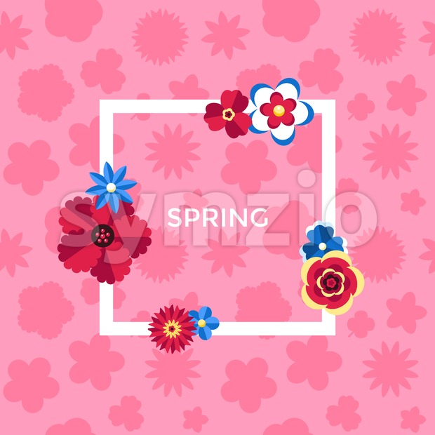 Digital vector pink flowers set icons with drawn simple line art info graphic, presentation with petals, spring branch and floral elements around Stock Vector