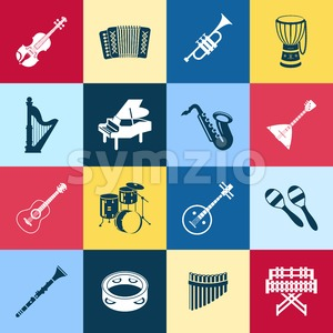 Digital vector green red yellow music instruments icons with drawn simple line art info graphic, presentation with guitar, piano, drums and sound Stock Vector