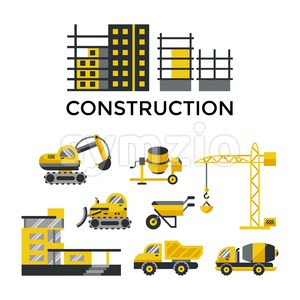 Digital vector yellow construction building tracks icons with drawn simple line art info graphic, presentation with crane, grout, excavator and cement Stock Vector