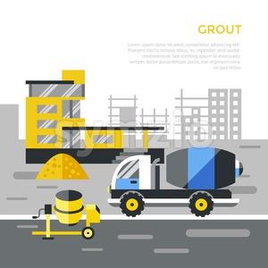 Digital vector black construction building tracks icons with drawn simple line art info graphic, presentation with crane, road, grout, excavator and Stock Vector
