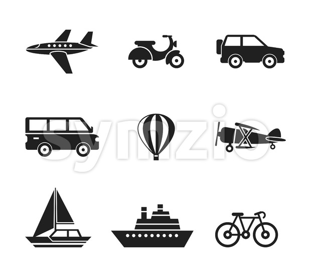 Digital vector black travel transport icons set with drawn simple line art info graphic, presentation with car, plane and vehicle elements around Stock Vector
