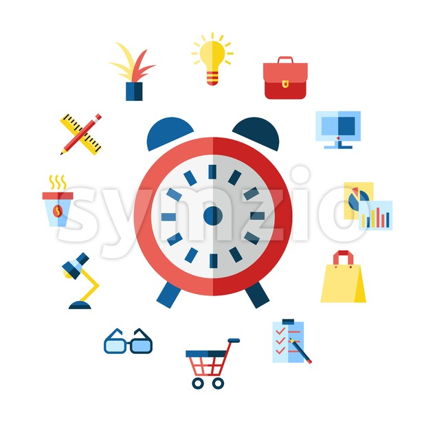 Digital vector blue red work space icons set with drawn simple line art info graphic, presentation with clock, calculator and office supplies elements Stock Vector