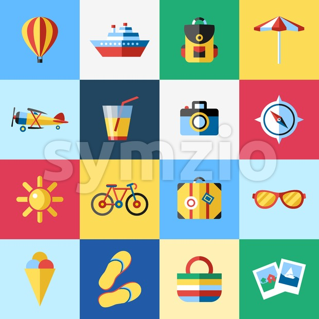 Digital vector blue red beach travel icons set with drawn simple line art info graphic, presentation with sun, slippers and sea vacation elements Stock Vector