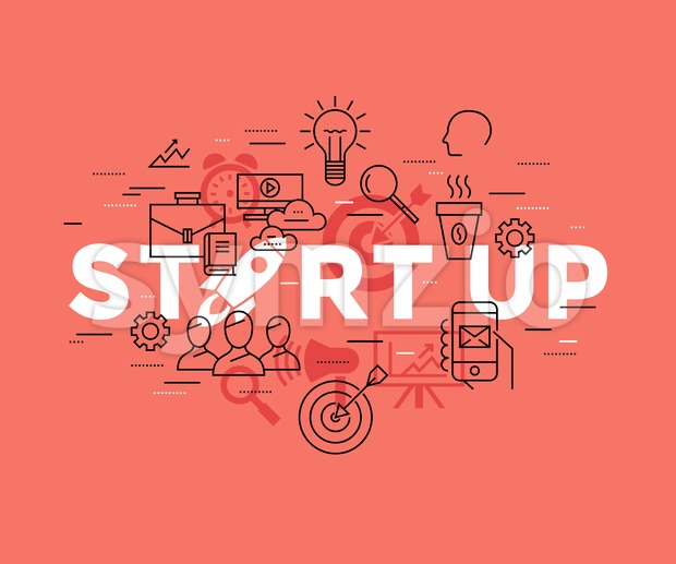 Digital vector red startup team icons with drawn simple line art info graphic, presentation with rocket, project and business elements around promo Stock Vector