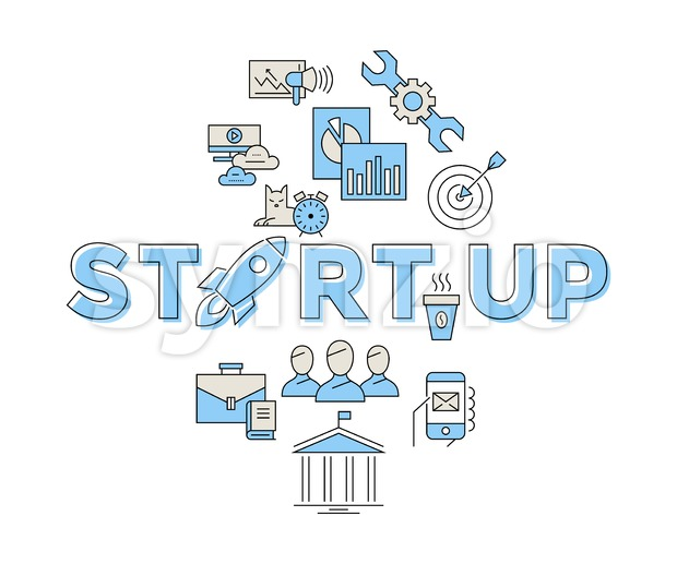 Digital vector blue red startup team icons with drawn simple line art info graphic, presentation with rocket, project and business elements around Stock Vector