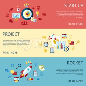 Digital vector blue red startup icons with drawn simple line art info graphic, presentation with rocket, project and business elements around promo Stock Vector