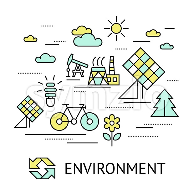 Digital vector yellow green ecology environment icons with drawn simple line art info graphic, presentation with recycle, production and alternative Stock Vector
