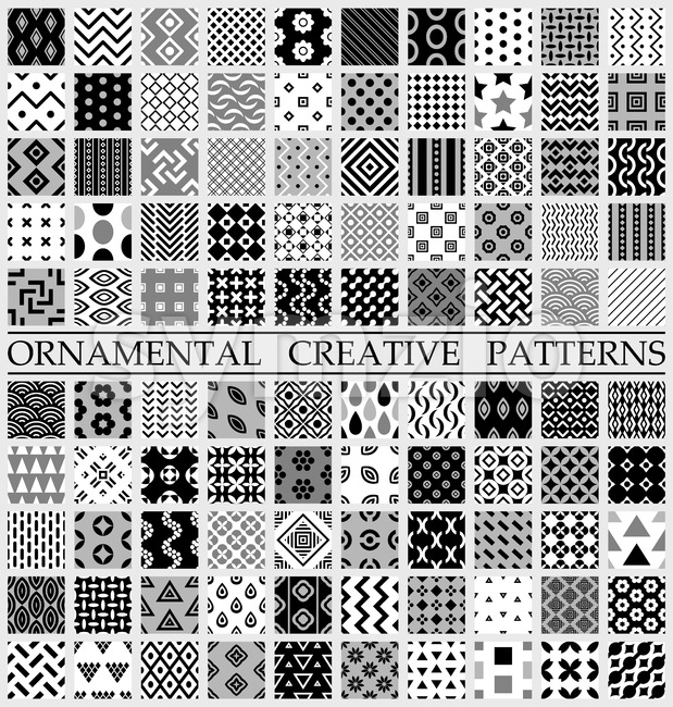 Digital vector black and white geometric universal different seamless patterns with swatch tiling endless texture Stock Vector