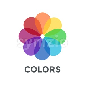 Digital vector color wheel spectrum flowe rainbow circle, flat style Stock Vector