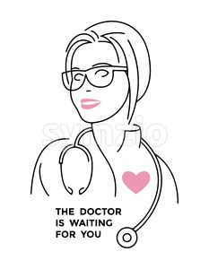 Digital vector black and pink happy nurse with glasses and heart icon, the doctor is waiting for you Stock Vector