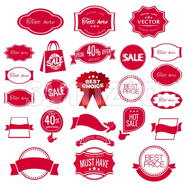 Digital vector red modern sale stickers collection, ribbon and badges, tags with text, limited edition, best choice, special offer, flat style icon Stock Vector