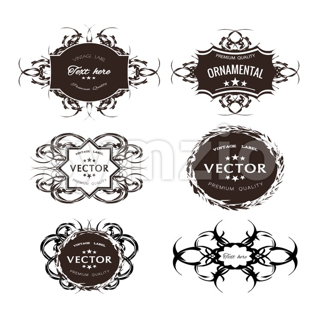 Digital vector black floral ornament stickers collection, ribbon and badges, tags with text, premium quality, vintage frame, flat style icon Stock Vector