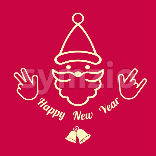Digital vector red happy new year merry christmas icon with drawn simple line art, santa claus face with beard and bells promo template, flat style Stock Vector