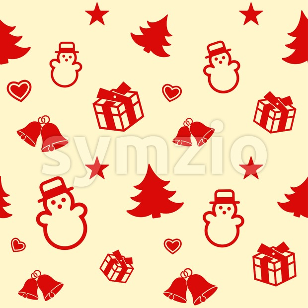 Digital vector yellow white happy new year merry christmas icons with drawn simple line art info graphic, seamless pattern, presentation with toys and Stock Vector