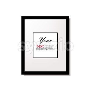 Digital vector black quote frames box blank template with print information design icon, empty citation, flat style Stock Vector