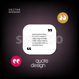 Digital vector quote frames box blank template with print information design icon, empty citation, flat style Stock Vector