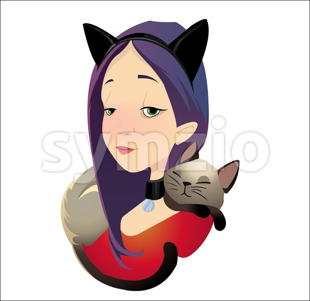 Digital vector funny cartoon purple red cat woman character with a cat lying and sleeping at the neck as neckerchief, abstract flat style Stock Vector
