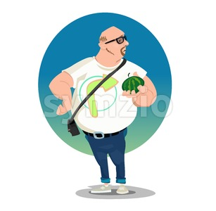 Digital vector funny comic cartoon big bald man with glasses and belly holding a small melon, white tshirt with arrow, hand drawn illustration, Stock Vector