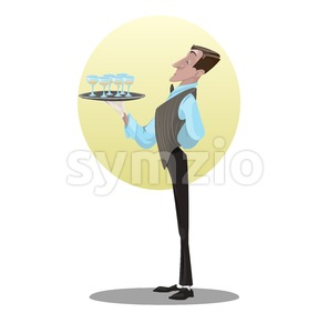 Digital vector funny comic cartoon tall and skinny waiter in gloves holding tray glasses with drinks, dressed in suite and bow, hand drawn Stock Vector