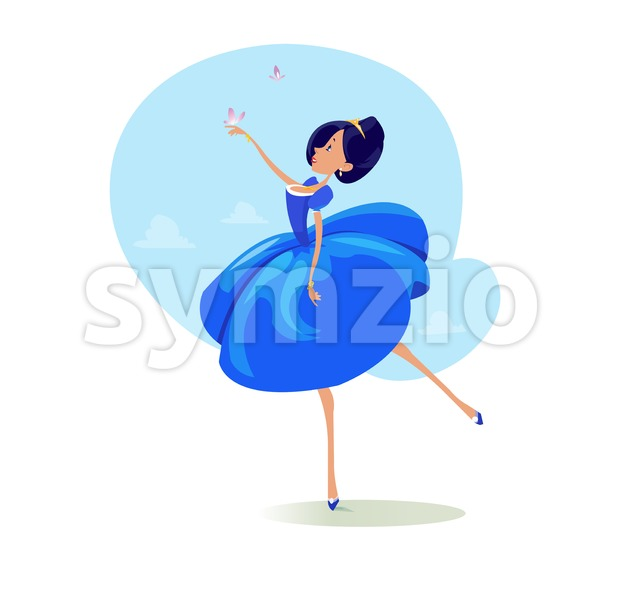 Digital vector funny comic cartoon fairytale princess girl in blue dress dancing with butterflyes at a ball, royal shoes and collar, hand drawn Stock Vector