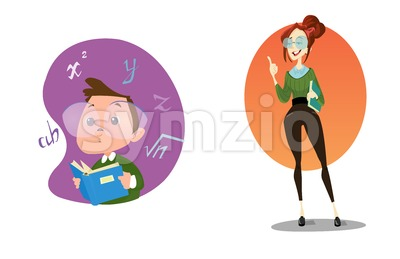 Digital vector funny comic cartoon stylish teacher with glasses and a book explaining the lesson, smart kid genius, hand drawn illustration, abstract Stock Vector