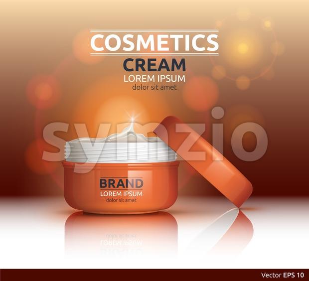 Moisturizing Cream cosmetic ads template. Hydrating face lotion. Mockup 3D Realistic illustration. Sparkling background color Stock Vector