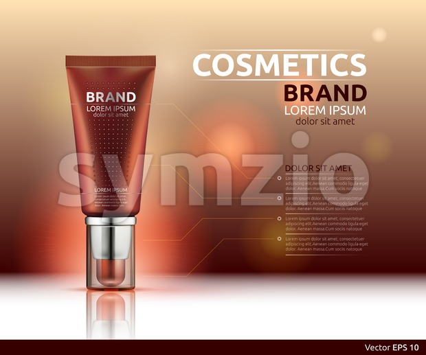 Moisturizing serum cosmetic ads template. Hydrating face lotion. Mockup 3D Realistic illustration. Sparkling blue background colors Stock Vector