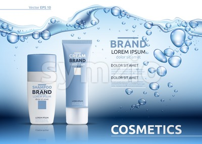 Aqua Cream Moisturizing cosmetic ads template. Hydrating facial lotion. Mockup 3D Realistic illustration. Sparkling water drops over blue Stock Vector