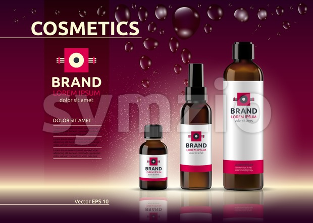 Body care cosmetic set serum and cream ads template. Hydrating facial or body lotions. Mockup 3D Realistic illustration. Sparkling deep red Stock Vector
