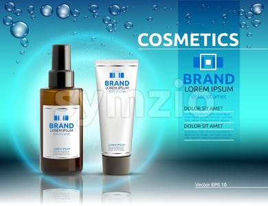 Body serum and cream cosmetics ads template. Hydrating facial or body lotions. Mockup 3D Realistic illustration. Sparkling water drops over blue Stock Vector