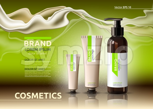 Body care cosmetic set serum and cream ads template. Hydrating facial or body lotions. Mockup 3D Realistic illustration. Sparkling greenery Stock Vector