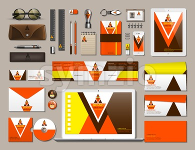 Business corporate identity items set. Vector working articles phone, tablet, maps, cards with brand logos. Work Stuff Stationery 3d realistic Stock Vector