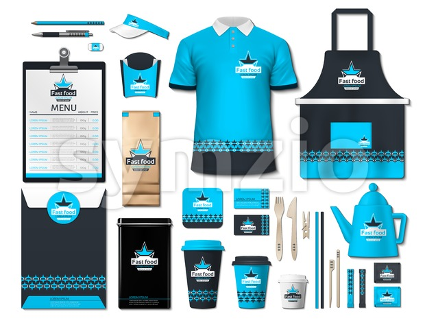 Business fastfood corporate identity items set. Vector fastfood Color promotional uniform, apron, menu, timetable, coffee cups design with logos. Work Stock Vector