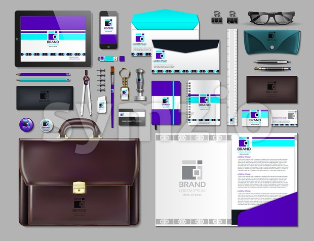 Business corporate identity items set. Vector working articles portofolio, glasses, phone, tablet, maps with brand logos. Work Stuff Stationery 3d Stock Vector