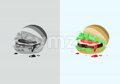 Digital vector funny comic cartoon colored and black and white hot burger with ketchup, abstract realistic flat style Stock Vector