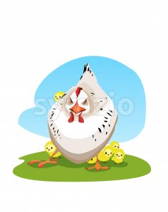 Digital vector funny comic cartoon colored angry mother chicken protecting small yellow chicks, hand drawn illustration, abstract realistic flat style Stock Vector