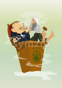 Digital vector funny comic cartoon colored judge smoking cannabis, hand drawn illustration, abstract realistic flat style Stock Vector