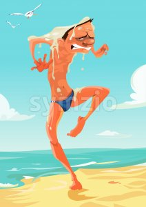 Digital vector funny comic cartoon nude man walking at the beach attacked by the seagulls, full of excrements disaster, hand drawn illustration, Stock Vector