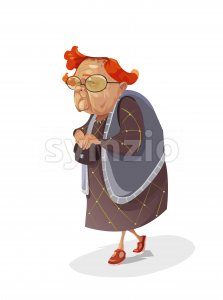 Digital vector funny comic cartoon old red hair insidious subtle grandmother with big glasses holding her purse and looking towards camera, abstract Stock Vector