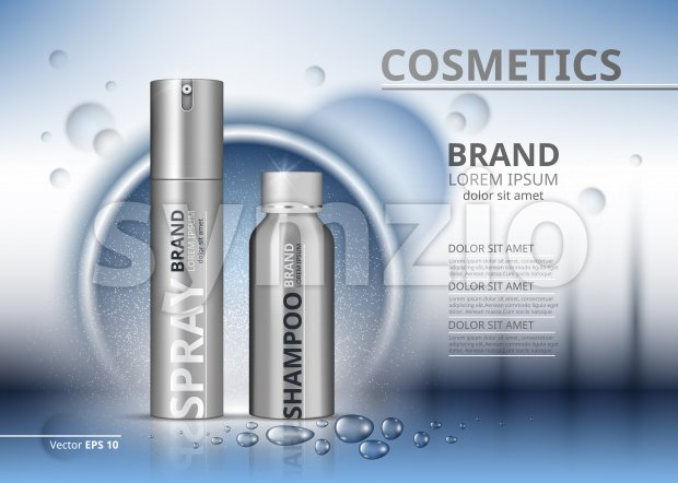 Cosmetic package ads template. Shampoo and spray in silver bottles. Mockup 3D Realistic illustration. Sparkling water drops backgrounds Stock Vector