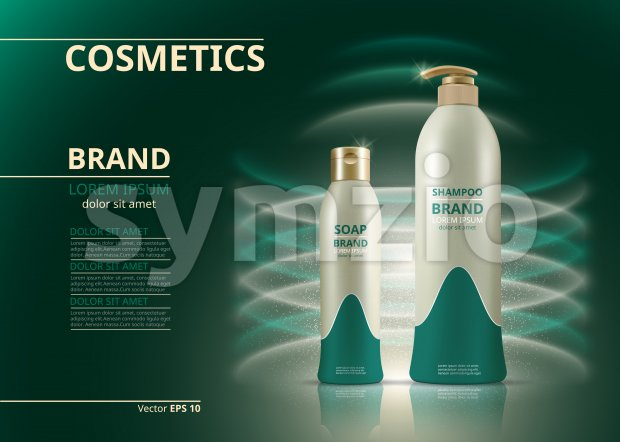 Shampoo and soap natural products realistic bottles. Mockup 3D illustration. Cosmetic package ads template. Water effect Sparkling backgrounds Stock Vector