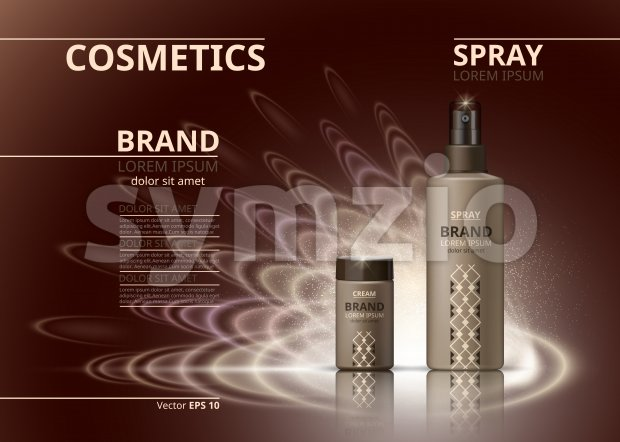 Cosmetic realistic package ads template. Hydrating face cream and body spray products bottles. Mockup 3D illustration. Sparkling backgrounds Stock Vector