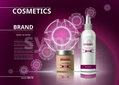 Cosmetic realistic package ads template. Hydrating bb cream and micellar water products bottles. Mockup 3D illustration. Sparkling backgrounds Stock Vector
