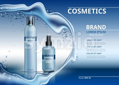 Cosmetic realistic package ads template. Body foam and gel products bottles. Mockup 3D illustration. Sparkling water drops background Stock Vector