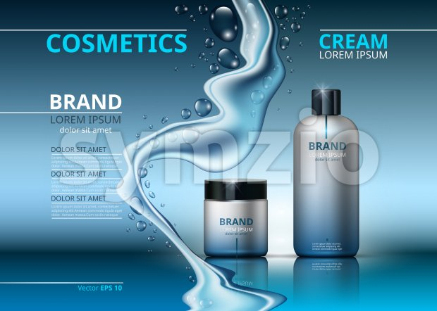 Cosmetic realistic package ads template. Face and body cream hydrating products in blue bottles. Mockup 3D illustration. Sparkling water drops Stock Vector