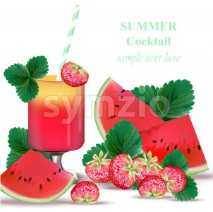 Watermelon and Strawberry smoothie delicious Vector green leaves Stock Vector
