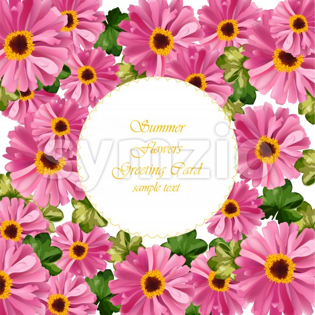 Pink floral round card Vector. delicate summer card. Springtime fresh natural compositions Stock Vector