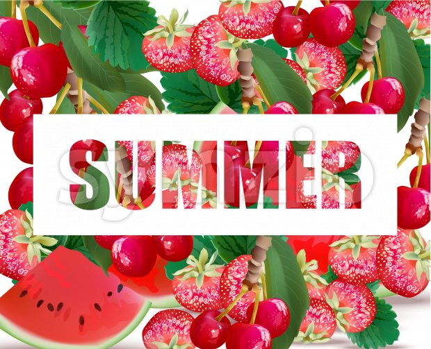 Summer watermelon, strawberry, cherries fusion background Vector illustration Stock Vector
